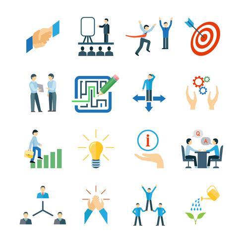 Set piatto icone di mentoring vettore