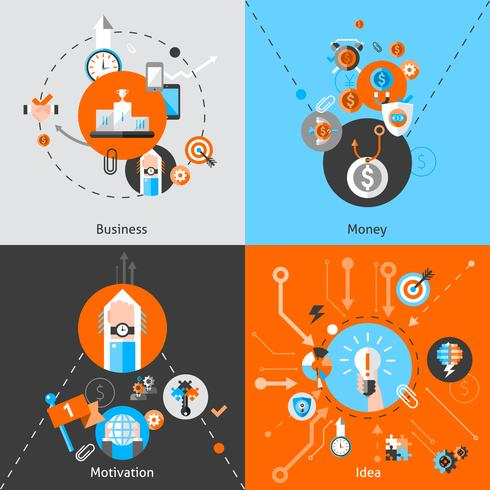 Set di concetti di business vettore