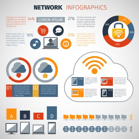 Set di infografica di rete vettore