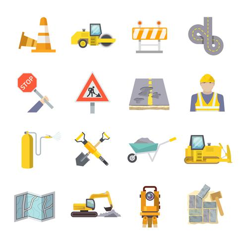 Icone piane del lavoratore della strada messe vettore