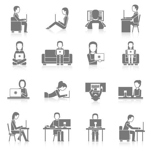 Icone di lavoro del computer impostate vettore