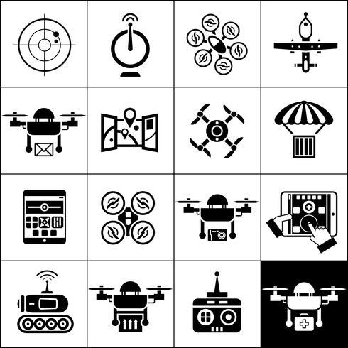 drone icone nere vettore