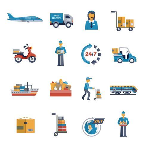 Icone piane di consegna vettore