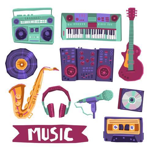 Set di icone musicali vettore