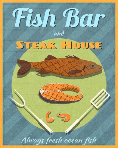 Poster retrò di pesce bar vettore