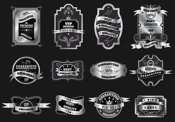 Collezione di etichette retrò emblemi d'argento originali vettore