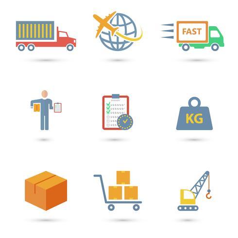 Icone logistiche piatte vettore