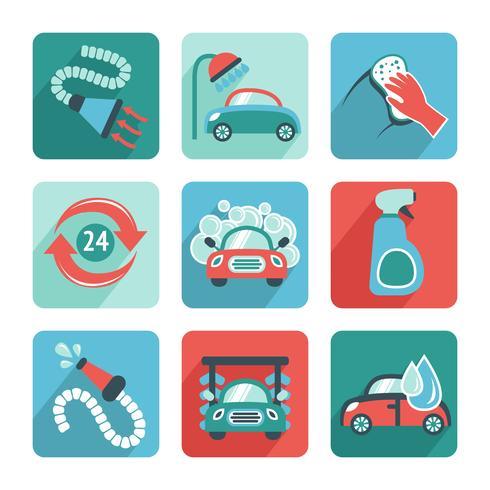 Icone di autolavaggio piatte vettore
