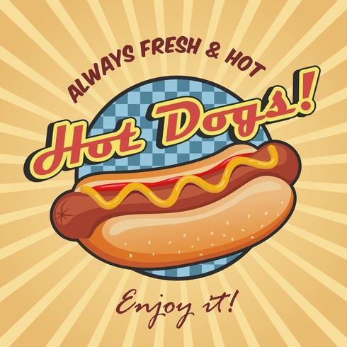 Modello di poster hot dog americano vettore