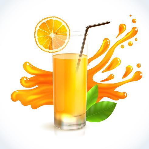 Spruzzata di succo d'arancia vettore