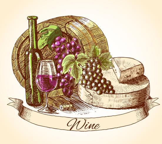 Fondo del vino e del pane del formaggio vettore