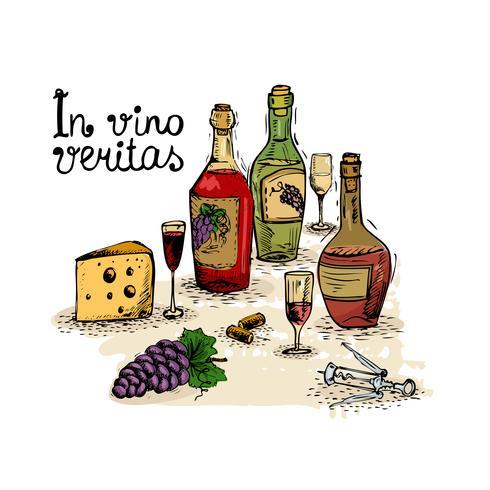 Vino still life vettore