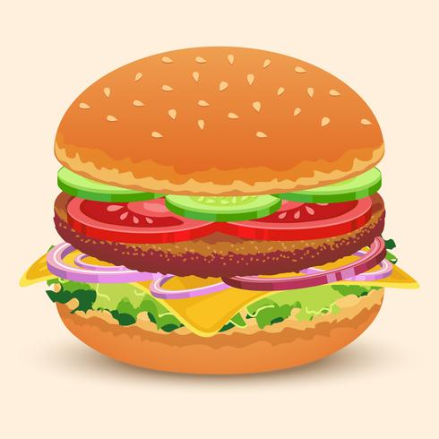 panino hamburger stampato vettore