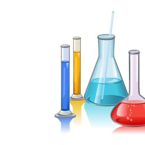 Modello di vetreria di boccette di laboratorio colorato vettore
