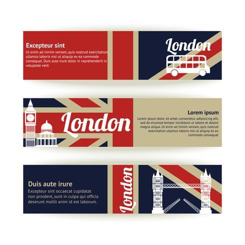 Collezione di banner e nastri con monumenti di Londra vettore