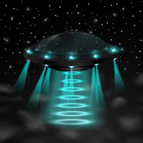 Volare ufo nella notte vettore