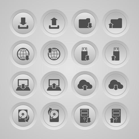 Carica set di icone di download vettore