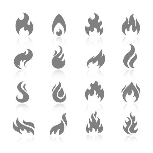 Set di icone di fuoco vettore