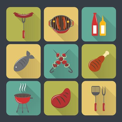 Set di icone di barbecue grill piatte vettore