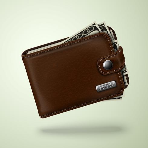 Portafoglio classico in pelle marrone con banconote vettore