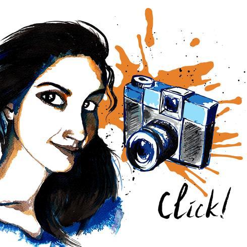 Macchina fotografica hipster ragazza inchiostro vettore