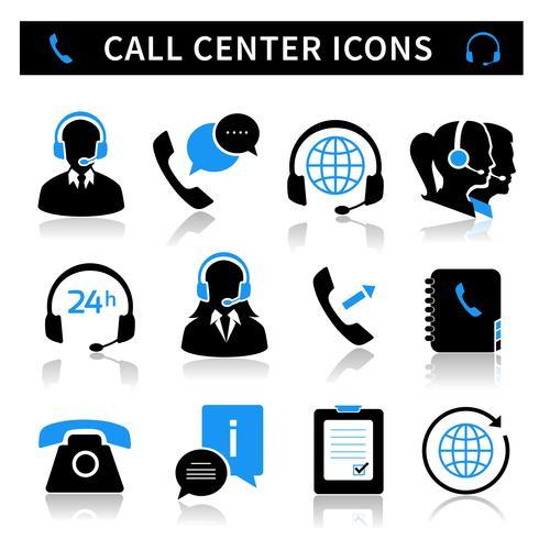 Set di icone di servizio di Call Center vettore