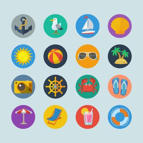 Icone di vacanze estive sul mare vettore