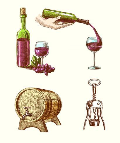 Set decorativo schizzo di vino vettore