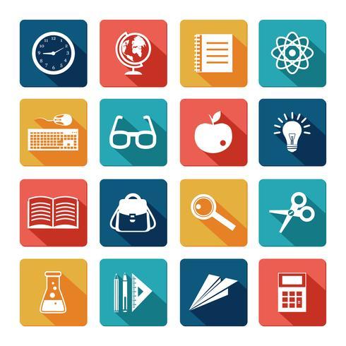 Set piatto di icone di educazione vettore