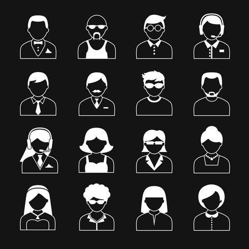 Set di icone di personaggi avatar vettore
