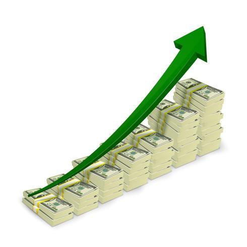 Le banconote dei soldi impilano il grafico in aumento vettore