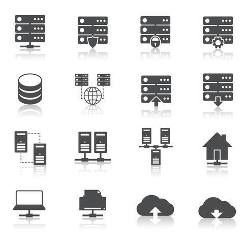 Set di pittogrammi tecnologia di hosting vettore