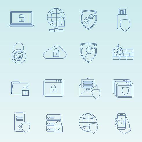 Set di icone di sicurezza della tecnologia dell'informazione vettore