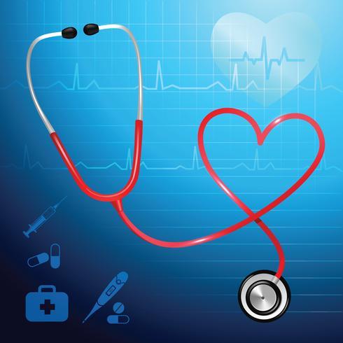 Sfondo di battito cardiaco stetoscopio vettore
