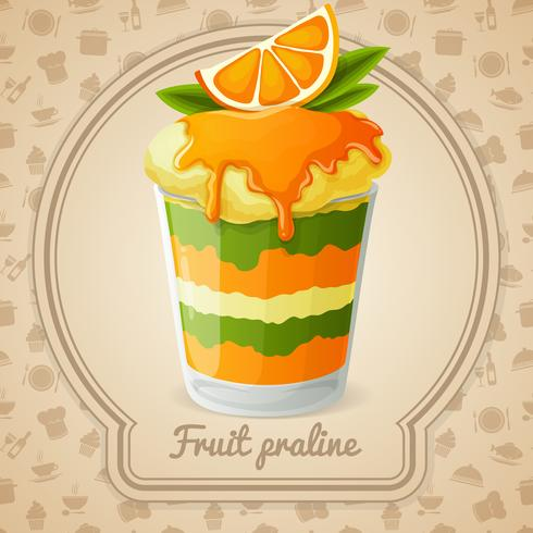 Distintivo di pralina di frutta vettore