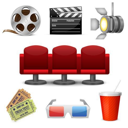 Icone decorative di intrattenimento cinematografico vettore