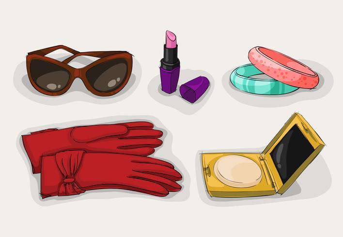 Collezione di moda di accessori classici per donna vettore