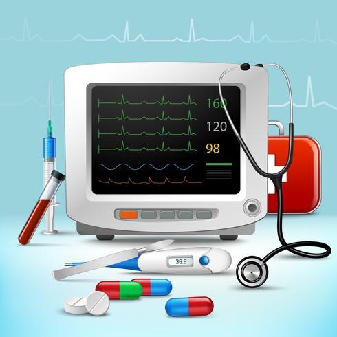 Set di accessori medici realistici vettore