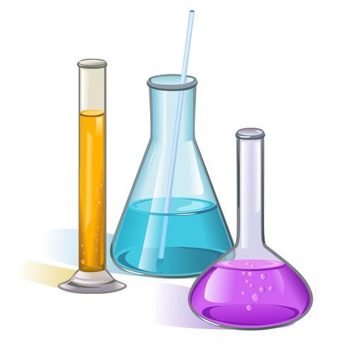 Concetto di vetreria di boccette di laboratorio vettore