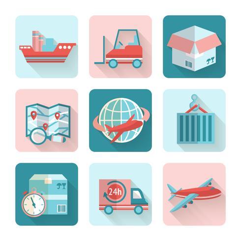 Icone piane logistiche vettore