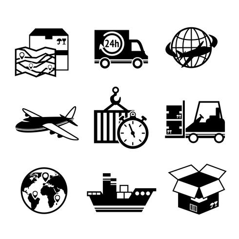 Set di icone logistiche vettore