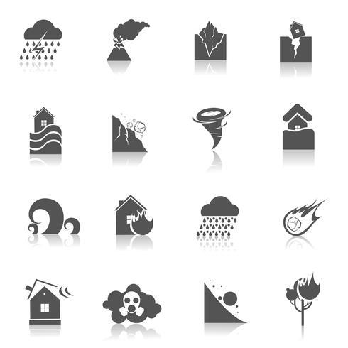 Icone di disastro naturale nere vettore