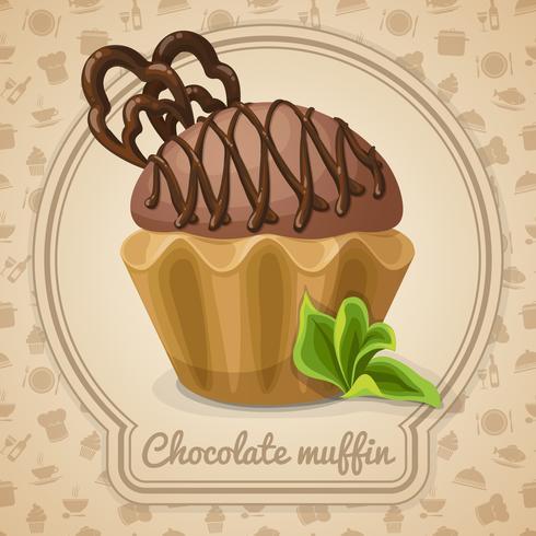 Poster di muffin al cioccolato vettore