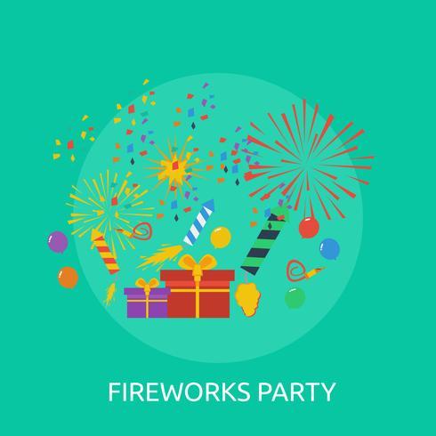 Disegno concettuale dell'illustrazione del partito dei fuochi d'artificio vettore