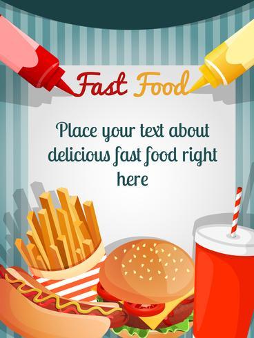 Poster del menu fast food vettore