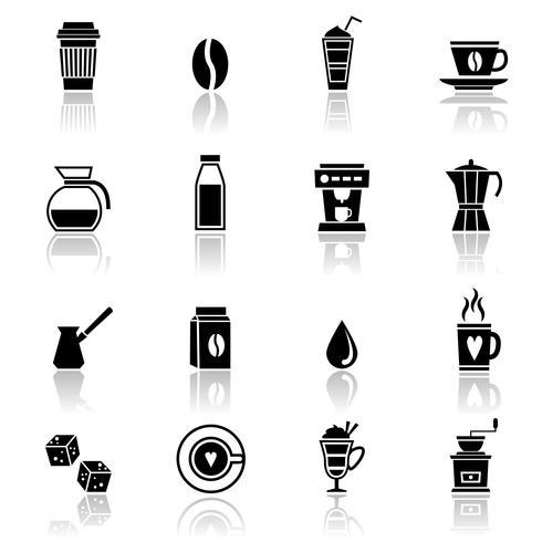 Icone del caffè nere vettore
