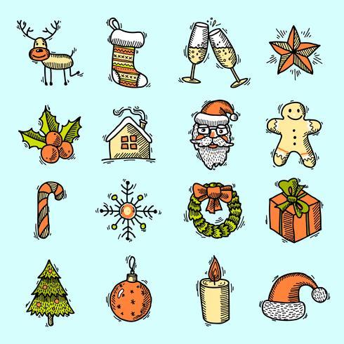 Le icone di Natale impostano il colore vettore