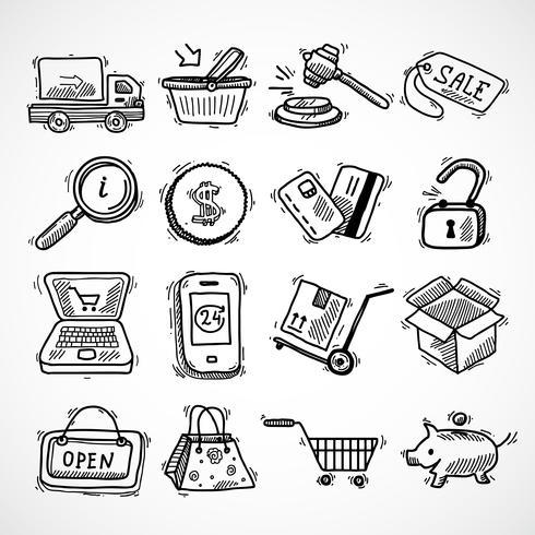 Set di icone dello schizzo di e-commerce di acquisto vettore