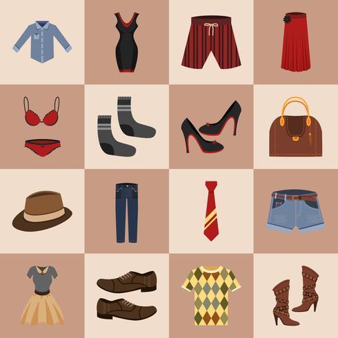 Set di icone di vestiti vettore