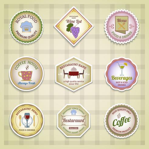 Colore del set di etichette del ristorante vettore
